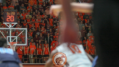The Virginia Tech student section watches as play resumes after a foul. (Mark Umansky/TheKeyPlay.com)
