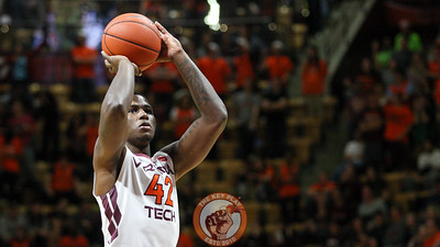 Ty Outlaw attemps a pair of free throws for his first points as a Virginia Tech Hokie. (Mark Umansky/TheKeyPlay.com)
