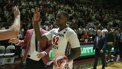 Ty Outlaw celebrates after the final whistle. He was 8-9 on 3pt shots, a Virginia Tech record. (Mark Umansky/TheKeyPlay.com)