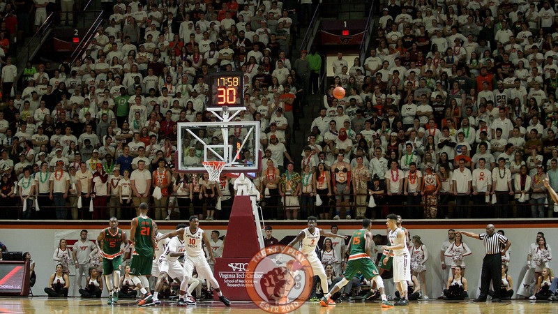Virginia Tech defends a Miami inbounds pass on the baseline in the second half. (Mark Umansky/TheKeyPlay.com)
