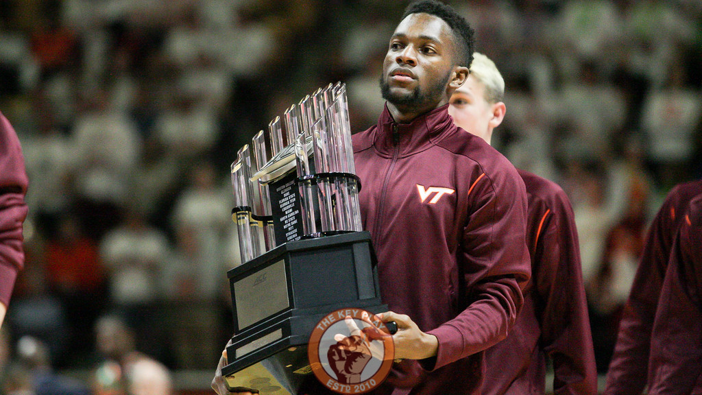 Members of the Virgina Tech Track & Field team are honored during a media timeout for their recent ACC Championship victory. (Mark Umansky/TheKeyPlay.com)