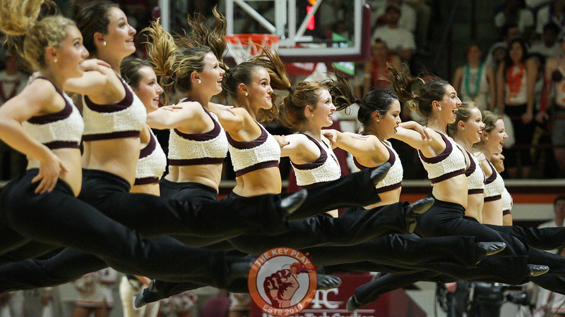 The Virginia Tech High Techs perform for the crowd during a timeout. (Mark Umansky/TheKeyPlay.com)