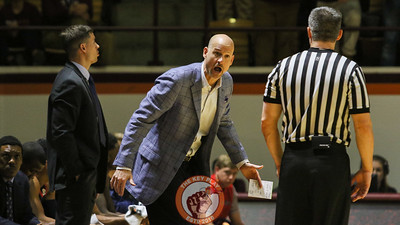 Mississippi head coach Andy Kennedy yells at a referee after a foul is called against his team. (Mark Umansky/TheKeyPlay.com)
