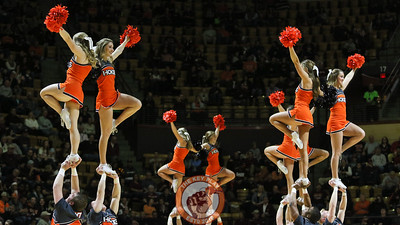 The Virginia Tech cheerleaders wave to the crowd during a break in the action. (Mark Umansky/TheKeyPlay.com)