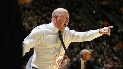 Head coach Buzz Williams shouts instructions to his players as the Hokies try to put Ole Miss away. (Mark Umansky/TheKeyPlay.com)