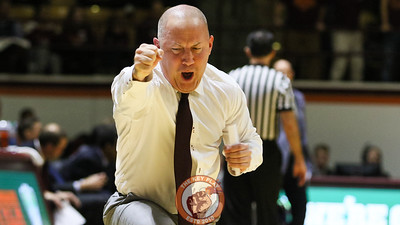 Buzz Williams celebrates a forced turnover against Ole Miss. (Mark Umansky/TheKeyPlay.com)