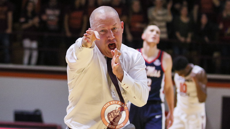 Buzz Williams celebrates a defensive stop and foul against Ole Miss. (Mark Umansky/TheKeyPlay.com)
