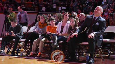 Head coach Buzz Williams and family watch anxiously at the start of the selection show. (Michael Shroyer/TheKeyPlay.com)