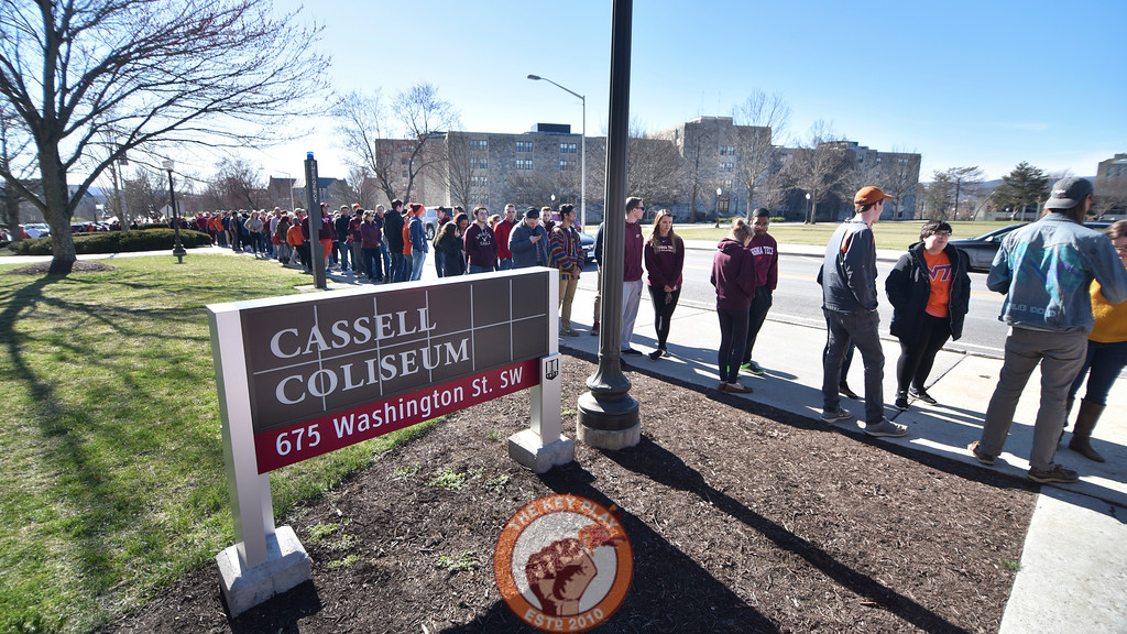 Virginia Tech students and fans line up outside Cassell Coliseum prior to the doors opening. (Michael Shroyer/TheKeyPlay.com)