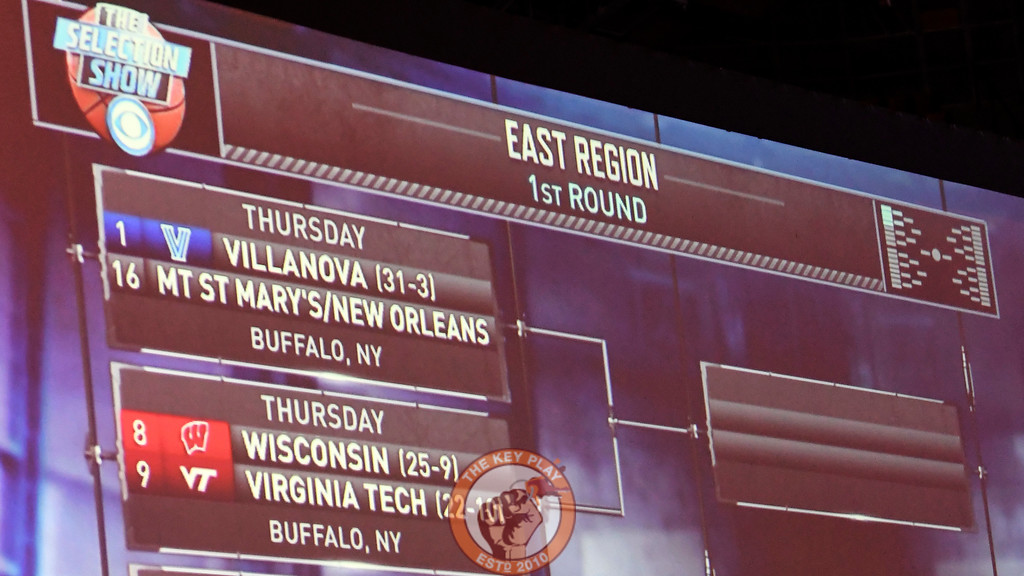 The official East Region bracket containing the Virginia Tech Hokies. (Michael Shroyer/TheKeyPlay.com)