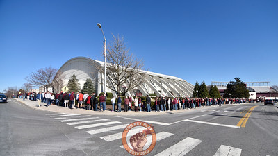 Virginia Tech students and fans wrap around Cassell Coliseum down to the Merryman Athletic Center prior to the doors opening. (Michael Shroyer/TheKeyPlay.com)