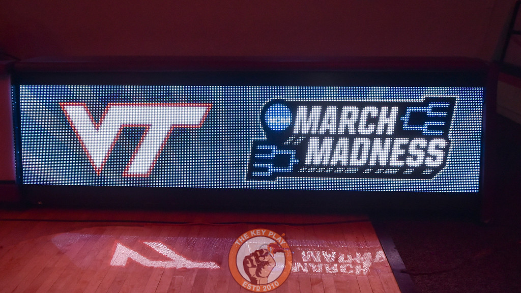 A video board announces what has been a long time waiting for many Hokie fans. (Michael Shroyer/TheKeyPlay.com)