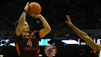 Virginia Tech Hokies guard Seth Allen (4) shoots a three pointer in the second half. (Michael Shroyer/ TheKeyPlay.com)