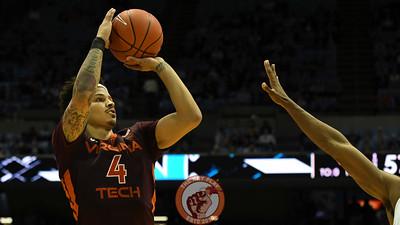 Virginia Tech Hokies guard Seth Allen (4) shoots a three pointer in the second half. (Michael Shroyer/ TheKeyPlay.com)