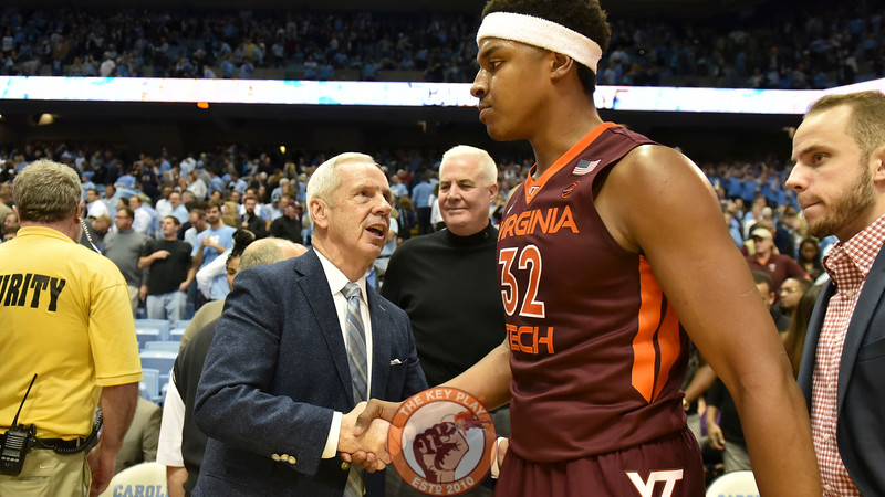 North Carolina Tar Heels head coach Roy Williams shakes hands with Virginia Tech Hokies forward Zach LeDay (32) following the game. (Michael Shroyer/ TheKeyPlay.com)