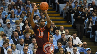 Virginia Tech Hokies guard Justin Bibbs (10) attempts a three pointer. (Michael Shroyer/ TheKeyPlay.com)