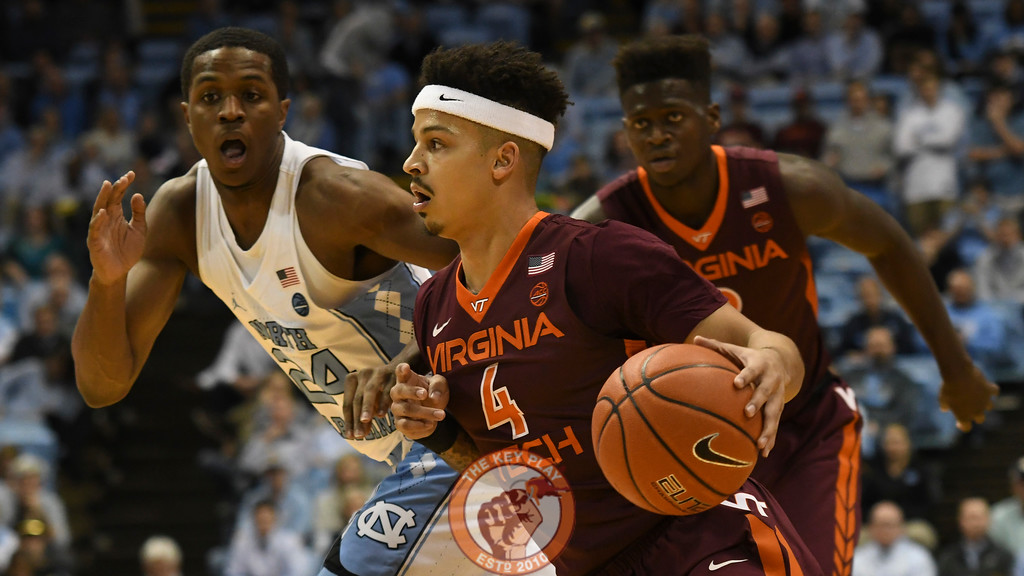 Virginia Tech Hokies guard Seth Allen (4) drives to the basket early in the game. (Michael Shroyer/ TheKeyPlay.com)