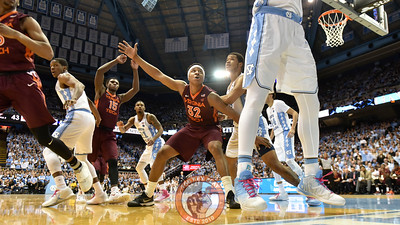 Virginia Tech Hokies forward Zach LeDay (32) and guard/forward Chris Clarke (15) fight for position on an inbounds play. (Michael Shroyer/ TheKeyPlay.com)