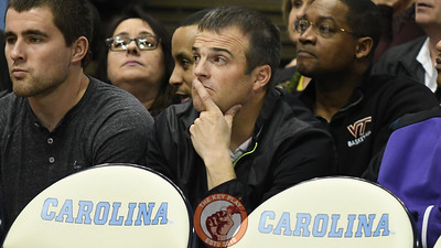 Former assistant football coach Shane Beamer looks on thoughtfully from the first row behind the Hokie bench. (Michael Shroyer/ TheKeyPlay.com)