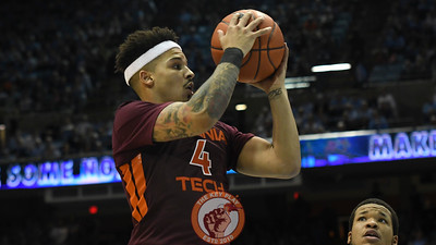 Virginia Tech Hokies guard Seth Allen (4) looks to shoot on his drive attempt. (Michael Shroyer/ TheKeyPlay.com)