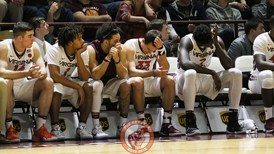 The Virginia Tech bench reacts to late game mistakes that puts the game out of reach. Notre Dame defeated Virginia Tech 76-71. (Mark Umansky/TheKeyPlay.com)