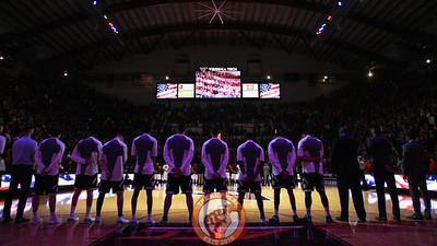 The teams line up for the national anthem before tipoff. (Mark Umansky/TheKeyPlay.com)