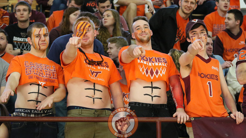 Students in the first row get ready for tipoff for the first game of the spring semester. (Mark Umansky/TheKeyPlay.com)