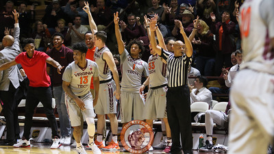 The Virginia Tech bench celebrates a three point shot in the second half. (Mark Umansky/TheKeyPlay.com)
