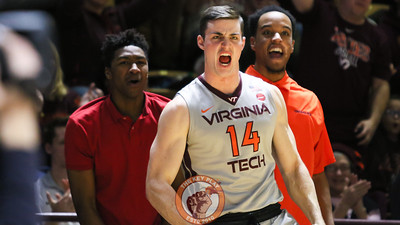 Greg Donlon (14) reacts to a Virginia Tech basket in the second half. (Mark Umansky/TheKeyPlay.com)