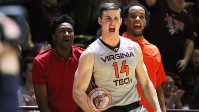 Greg Donlon (14) reacts to a Virginia Tech basket in the second half. (Mark Umansky/TheKeyPlay.com)