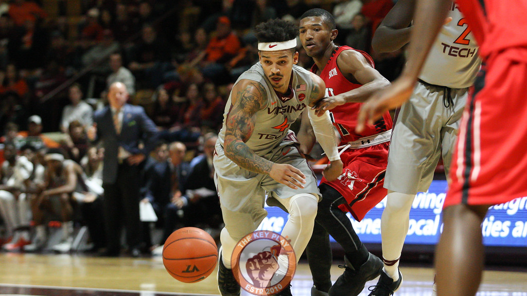 Seth Allen chases after a loose ball after it's knocked out of his hands by a VMI defender. (Mark Umansky/TheKeyPlay.com)