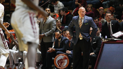 Virginia Tech head coach Buzz Williams watches his team play in the first half. (Mark Umansky/TheKeyPlay.com)