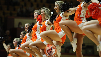 Virginia Tech Cheerleaders perform for the crowd during a media timeout in the first half. (Mark Umansky/TheKeyPlay.com)