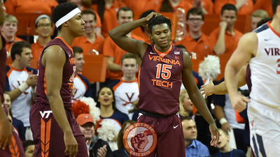 Virginia Tech Hokies guard/forward Chris Clarke (15) reacts following a foul call. (Michael Shroyer/ TheKeyPlay.com)