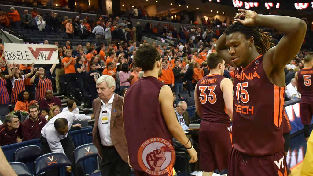 Virginia Tech Hokies guard/forward Chris Clarke (15) reacts following the defeat against Virginia Cavaliers. (Michael Shroyer/ TheKeyPlay.com)