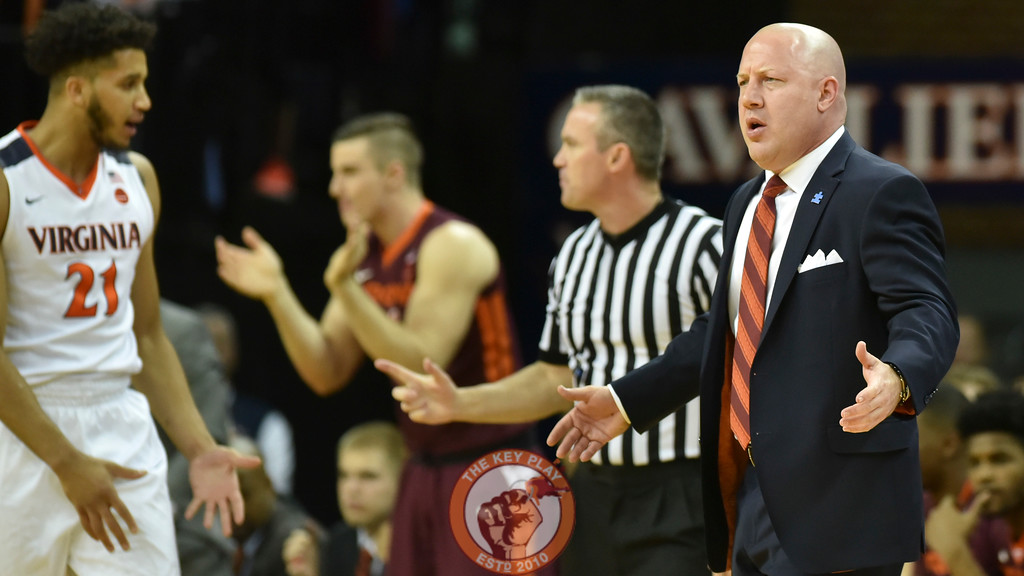 Virginia Tech Hokies head coach Buzz Williams reacts during a stoppage in play. (Michael Shroyer/ TheKeyPlay.com)