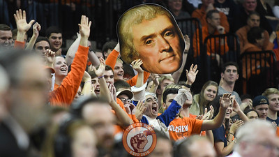 Virginia Cavaliers fans react with a fathead of their founder Thomas Jefferson. (Michael Shroyer/ TheKeyPlay.com)