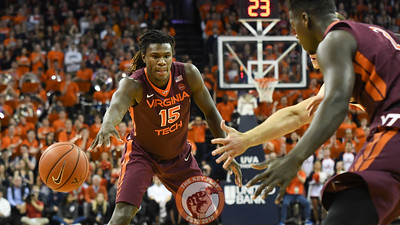 Virginia Tech Hokies guard/forward Chris Clarke (15) feeds the ball into forward Khadim Sy (2). (Michael Shroyer/ TheKeyPlay.com)