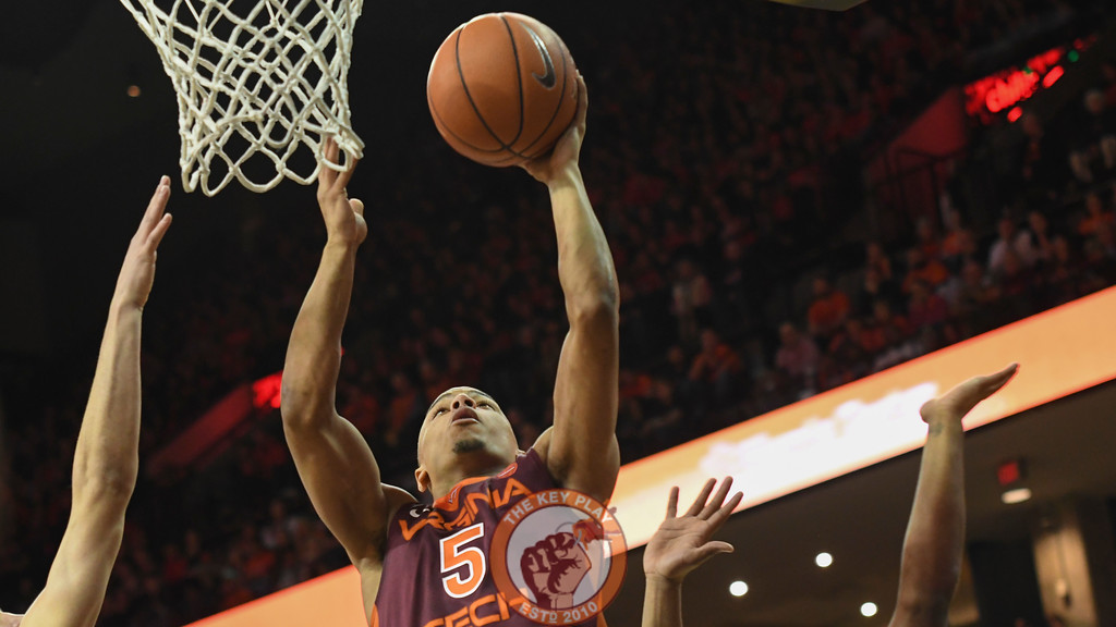 Virginia Tech Hokies guard Justin Robinson (5) attempts a layup in the first half. (Michael Shroyer/ TheKeyPlay.com)