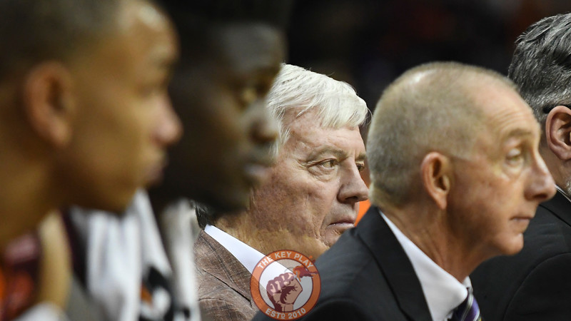 Former Virginia Tech head football coach Frank Beamer watches from the team's bench late in the second half. (Michael Shroyer/ TheKeyPlay.com)
