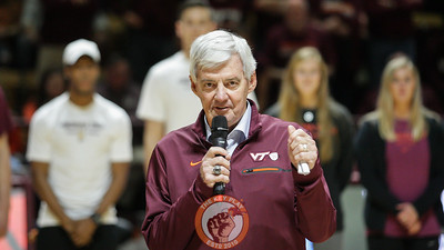Former Virginia Tech football coach Frank Beamer speaks to the crowd at halftime. (Mark Umansky/TheKeyPlay.com)