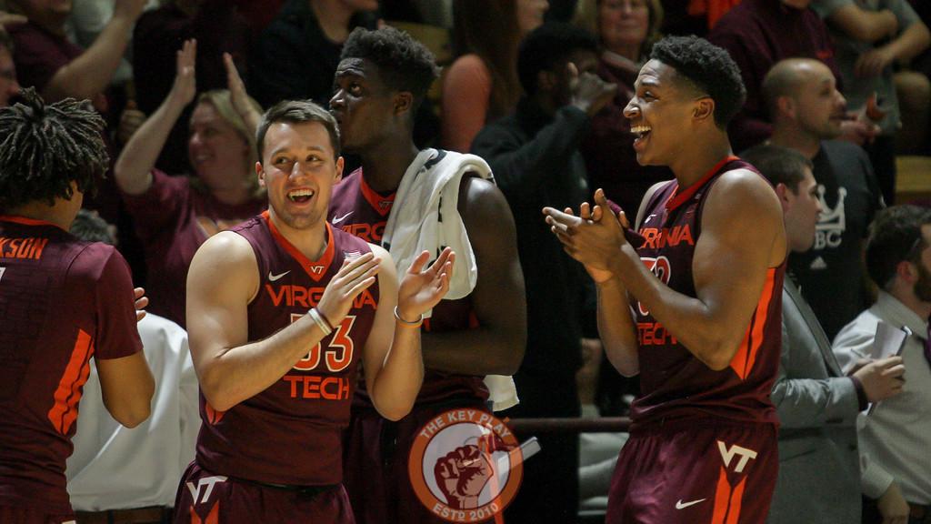 Zach Leday and Matt Galloway react as the first overtime ends after the jump ball. (Mark Umansky/TheKeyPlay.com)
