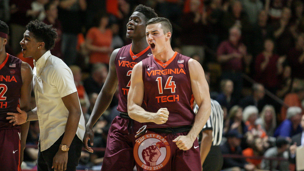 Greg Donlon shouts as the Hokies come off the bench at the start of a media timeout. Mark Umansky/TheKeyPlay.com)
