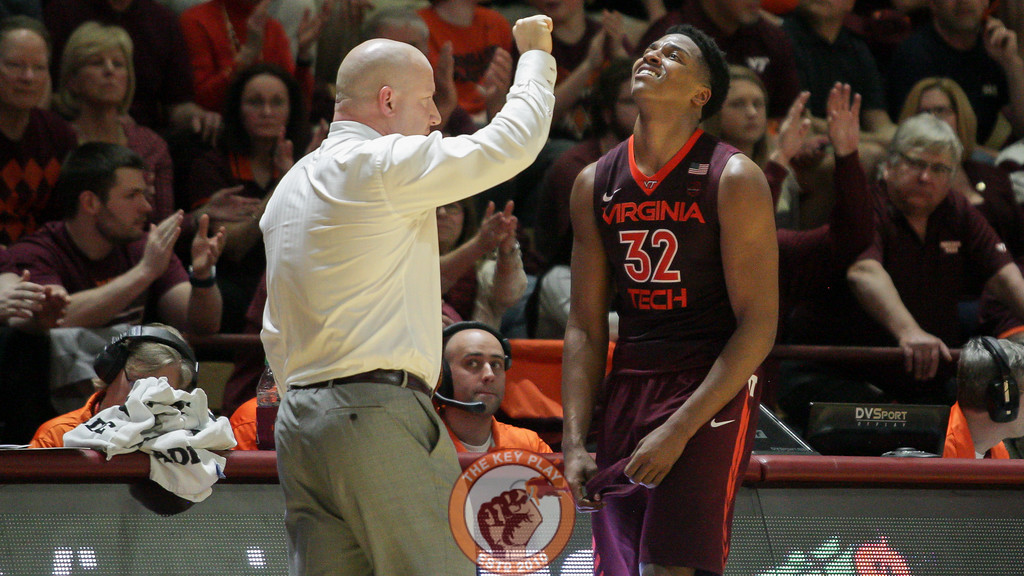 Zach Leday reacts as he comes out of the game after fouling out. (Mark Umansky/TheKeyPlay.com)