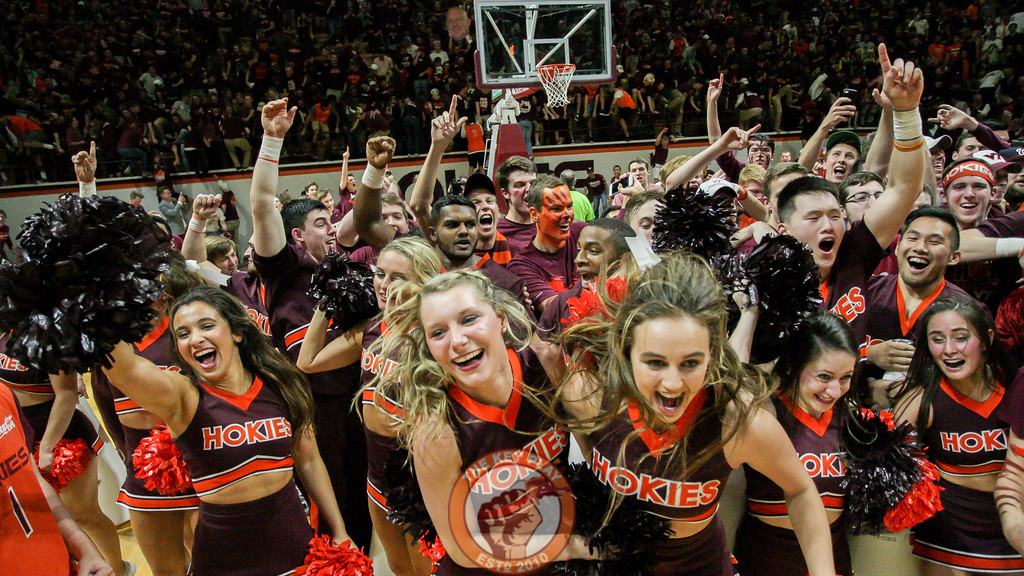 The Virginia Tech Cheerleaders run onto the court to celebrate after the final whistle. (Mark Umansky/TheKeyPlay.com)