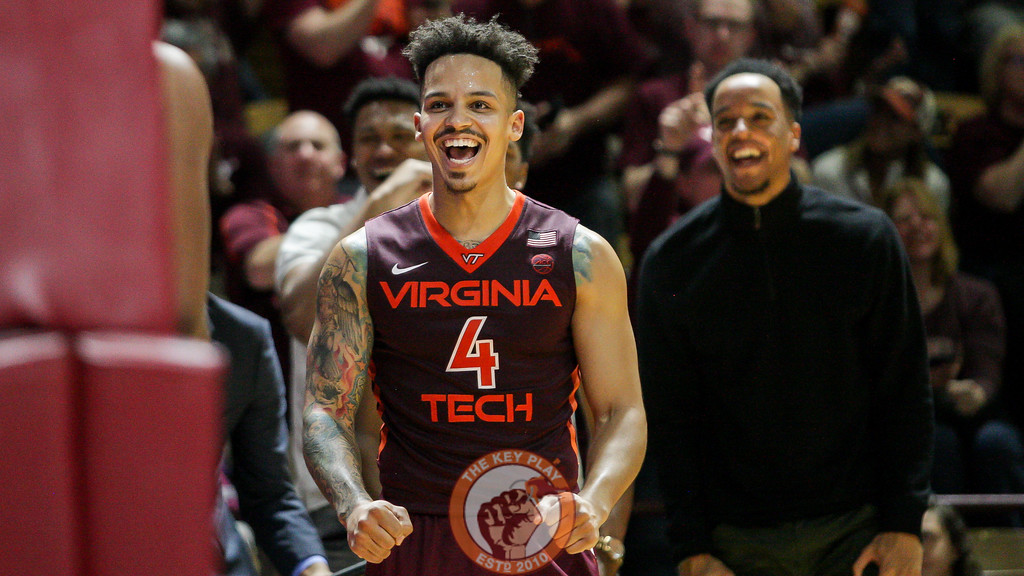 Seth Allen celebrates after a Virginia Tech basket and foul. (Mark Umansky/TheKeyPlay.com)