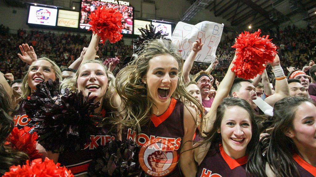 The Virginia Tech Cheerleaders celebrate the Hokies win on the court. (Mark Umansky/TheKeyPlay.com)
