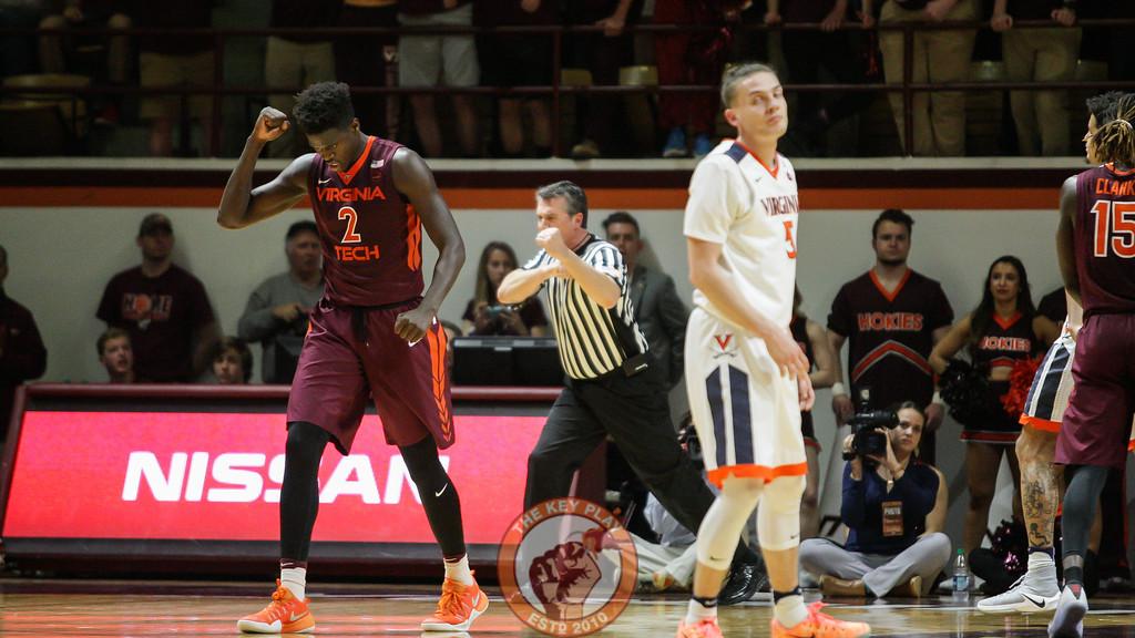 Khadim Sy celebrates after UVa turns the ball over in the second half. (Mark Umansky/TheKeyPlay.com)