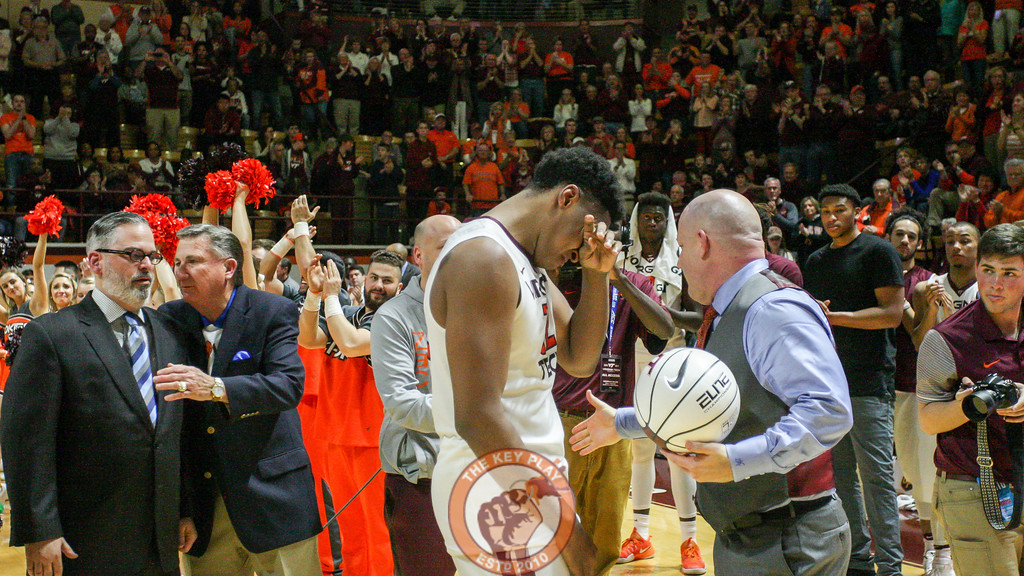 Zach LeDay fights back emotions while being honored on the court. (Mark Umansky/TheKeyPlay.com)