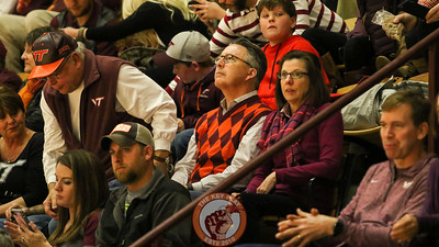 Virginia Tech President Dr. Tim Sands and his wife Dr. Laura Sands take their seats before the game begins. (Mark Umansky/TheKeyPlay.com)